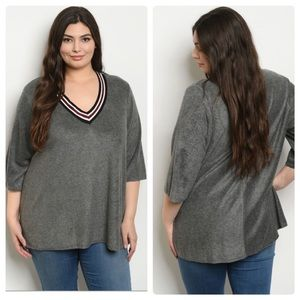 Sweaters - Gray V-neck Top